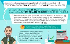 Anche quando pensi di avere spento tutti gli elettrodomestici, CONTROLLA CHE LA SPIA ROSSA DELLO STAND-BY NON SIA ACCESA.